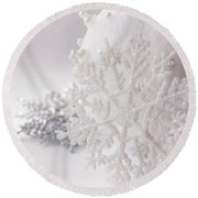 Snowflake Round Beach Towel by Cindy Garber Iverson
