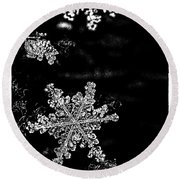 Snowflake Jewels Round Beach Towel by Shelly Gunderson