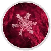 Snowflake On Red Round Beach Towel