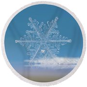 Round Beach Towel featuring the photograph Snowflake Photo - Cloud Number Nine by Alexey Kljatov
