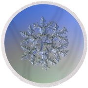 Round Beach Towel featuring the photograph Snowflake Photo - Gardener's Dream Alternate by Alexey Kljatov