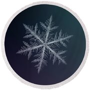 Round Beach Towel featuring the photograph Snowflake Photo - Neon by Alexey Kljatov