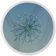Round Beach Towel featuring the photograph Snowflake Photo - Twelve Months by Alexey Kljatov