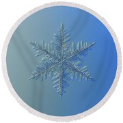 Round Beach Towel featuring the photograph Snowflake Photo - Winter Is Coming by Alexey Kljatov