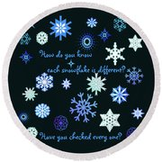 Snowflakes 2 Round Beach Towel by Methune Hively