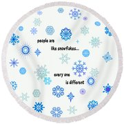 Snowflakes 3 Round Beach Towel by Methune Hively
