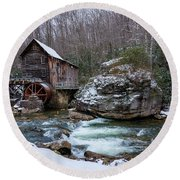 Snowing At The Mill  Round Beach Towel
