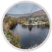 Round Beach Towel featuring the photograph Snowliage by Bill Wakeley