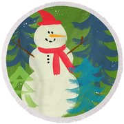 Snowman In Red Hat-art By Linda Woods Round Beach Towel by Linda Woods