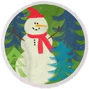 Snowman In Red Hat-art By Linda Woods Round Beach Towel by Linda Woods
