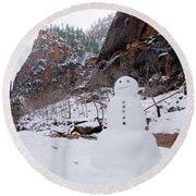 Snowman In Zion Round Beach Towel by Daniel Woodrum