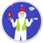 Snowman Juggler Round Beach Towel by Barbara Moignard