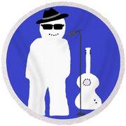 Snowman Musician Round Beach Towel by Barbara Moignard