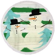 Snowmen With Blue Trees- Art By Linda Woods Round Beach Towel