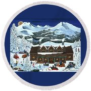 Snowmobile Holiday Round Beach Towel