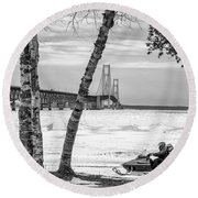 Round Beach Towel featuring the photograph Snowmobile Michigan Black And White  by John McGraw