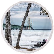 Round Beach Towel featuring the photograph Snowmobile Michigan  by John McGraw