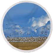 Snows And Storms Round Beach Towel