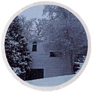 Snow's Hush Round Beach Towel by Joy Nichols