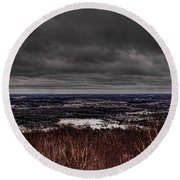 Snowstorm Clouds Over Rib Mountain State Park Round Beach Towel