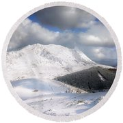 snowy Anboto from Urkiolamendi at winter Round Beach Towel