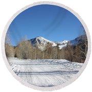 Round Beach Towel featuring the photograph Snowy Aspen by Kim Hojnacki