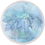 Snowy Baby Leaves Winter Holiday Card Round Beach Towel