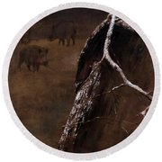 Snowy Branch With Wild Boars Round Beach Towel