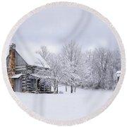 Snowy Cabin Round Beach Towel