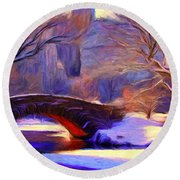 Snowy Central Park Round Beach Towel