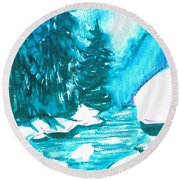 Round Beach Towel featuring the mixed media Snowy Creek Banks by Seth Weaver