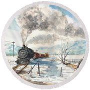 Snowy Crossing Round Beach Towel