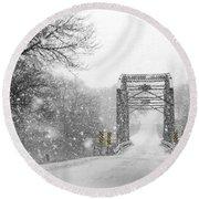 Snowy Day And One Lane Bridge Round Beach Towel by Kathy M Krause