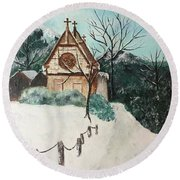 Round Beach Towel featuring the painting Snowy Daze by Denise Tomasura