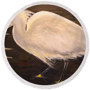 Round Beach Towel featuring the painting Snowy Egret by Alan Lakin