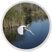 Snowy Egret Flying Over Blue Lake Round Beach Towel