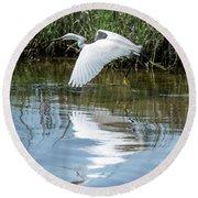 Snowy Egret In Flight Round Beach Towel