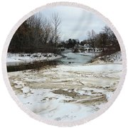 Snowy Elk Rapids River Round Beach Towel