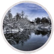 Round Beach Towel featuring the photograph Snowy Ellicott Creek by Nicole Lloyd