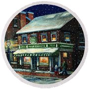 Snowy Evening In Gloucester, Ma Round Beach Towel