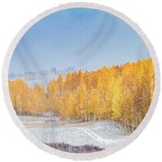 Snowy Fall Morning In Colorado Mountains Round Beach Towel