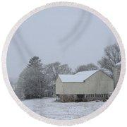 Winter White Farm Round Beach Towel