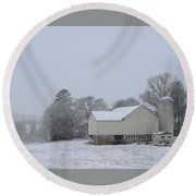 Winter White Farm Round Beach Towel