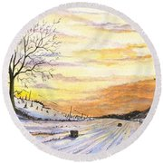 Round Beach Towel featuring the digital art Snowy Farm by Darren Cannell