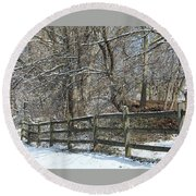 Winter Fence Round Beach Towel