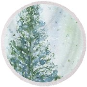 Round Beach Towel featuring the painting Snowy Fir Tree by Dawn Derman