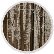 Snowy Forest Elevation Round Beach Towel