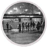 Snowy Harvard Square Night- Harvard T Station Black And White Round Beach Towel