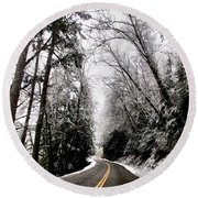 Round Beach Towel featuring the photograph Snowy Kapowsin Wa Road by Sadie Reneau