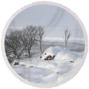 Snowy Landscape Round Beach Towel
